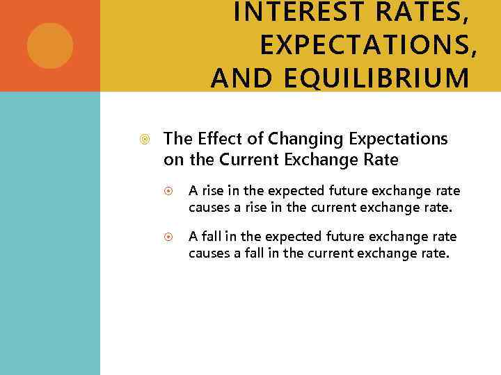 INTEREST RATES, EXPECTATIONS, AND EQUILIBRIUM The Effect of Changing Expectations on the Current Exchange