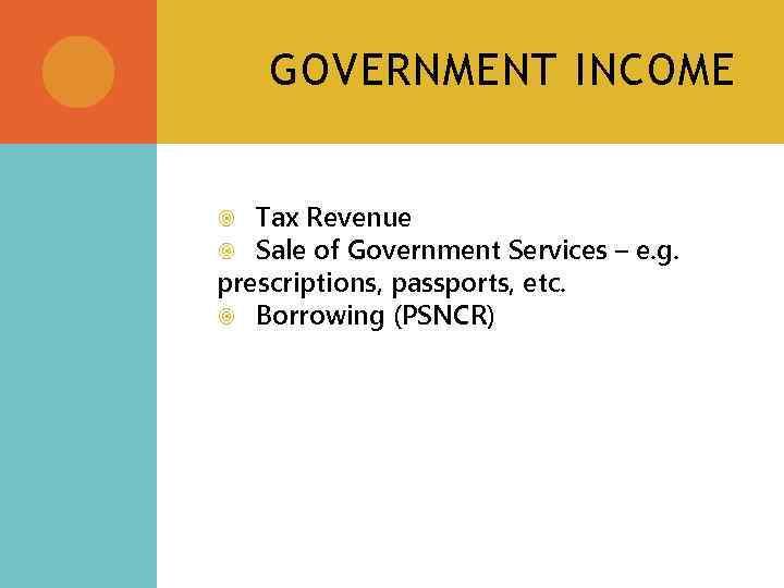 GOVERNMENT INCOME Tax Revenue Sale of Government Services – e. g. prescriptions, passports, etc.