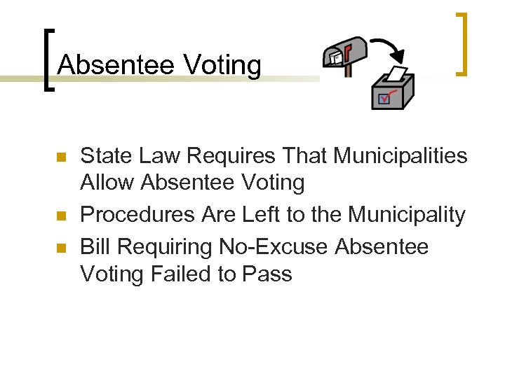 Absentee Voting n n n State Law Requires That Municipalities Allow Absentee Voting Procedures