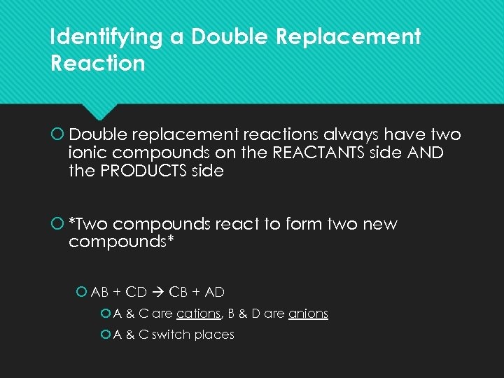 Identifying a Double Replacement Reaction Double replacement reactions always have two ionic compounds on