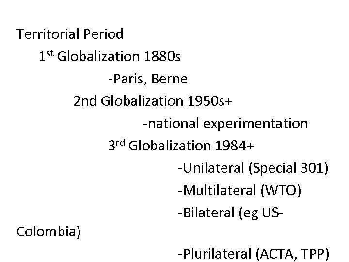 Territorial Period 1 st Globalization 1880 s -Paris, Berne 2 nd Globalization 1950 s+