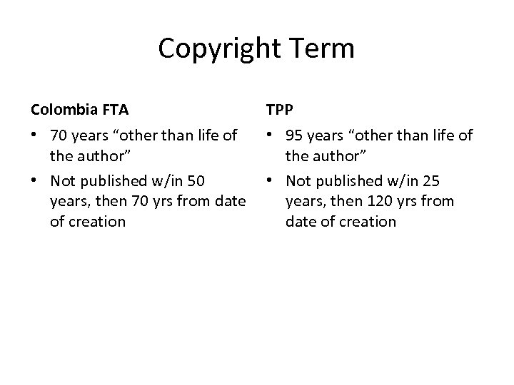 """Copyright Term Colombia FTA TPP • 70 years """"other than life of • 95"""