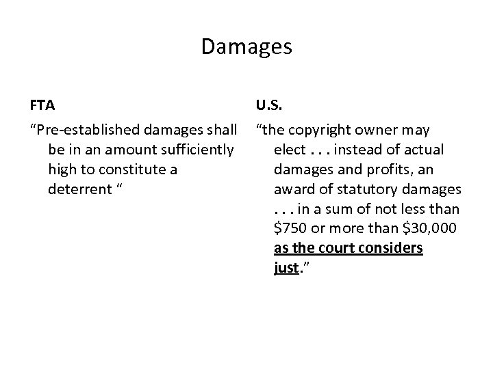 """Damages FTA U. S. """"Pre-established damages shall """"the copyright owner may be in an"""
