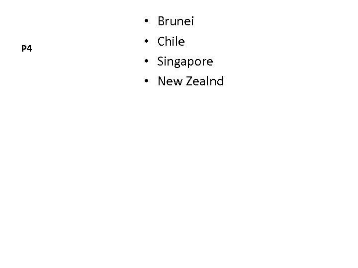 P 4 • • Brunei Chile Singapore New Zealnd