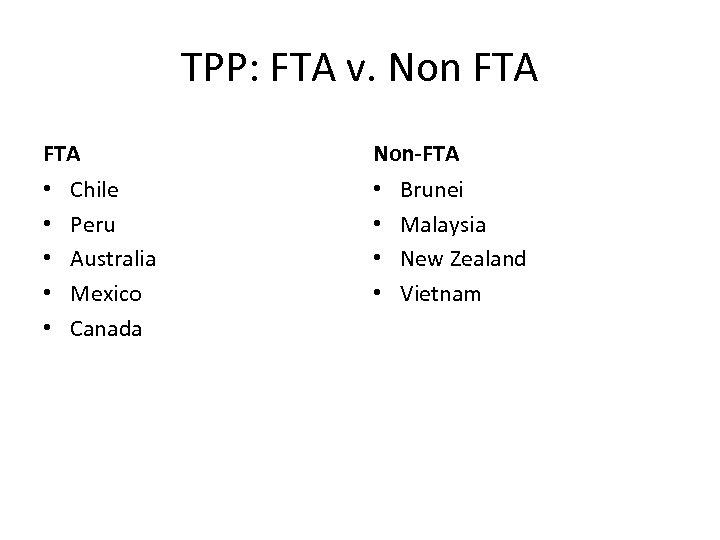 TPP: FTA v. Non FTA • • • Chile Peru Australia Mexico Canada Non-FTA