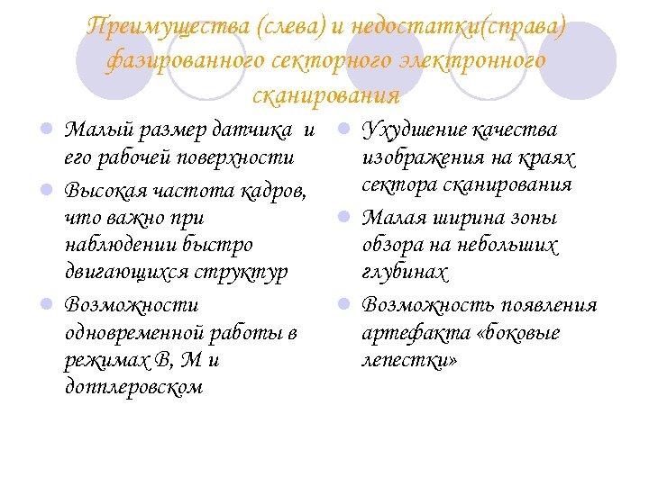 Преимущества (слева) и недостатки(справа) фазированного секторного электронного сканирования Малый размер датчика и l Ухудшение