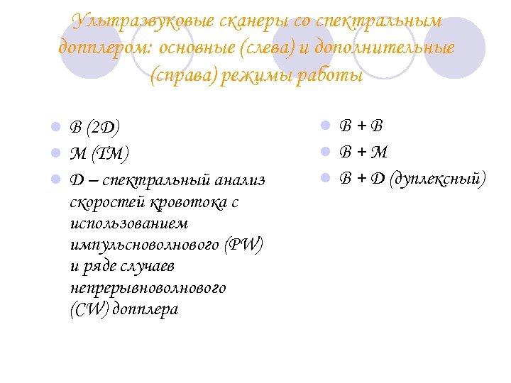 Ультразвуковые сканеры cо спектральным допплером: основные (слева) и дополнительные (справа) режимы работы B (2