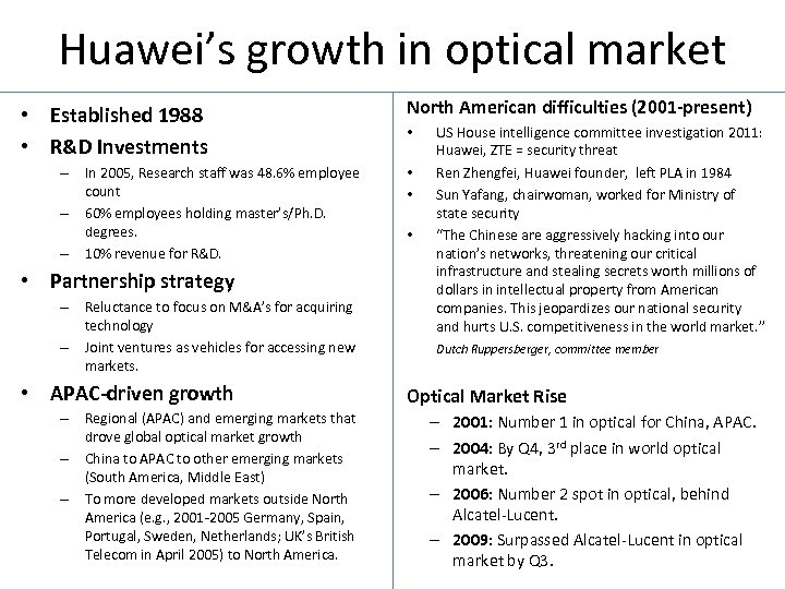 Huawei's growth in optical market • Established 1988 • R&D Investments – In 2005,