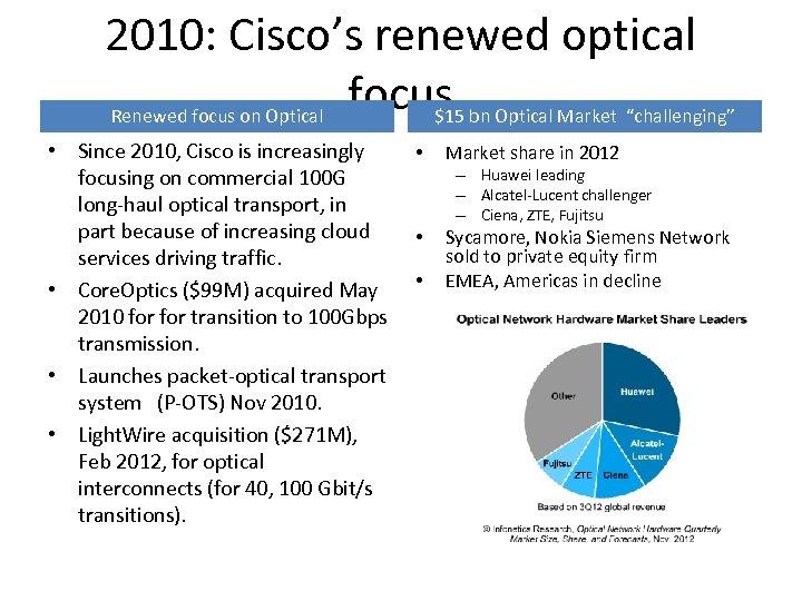 "2010: Cisco's renewed optical focus Renewed focus on Optical $15 bn Optical Market ""challenging"""