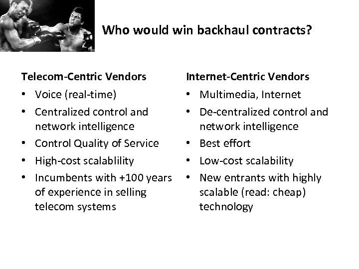 Who would win backhaul contracts? Telecom-Centric Vendors Internet-Centric Vendors • Voice (real-time) • Centralized
