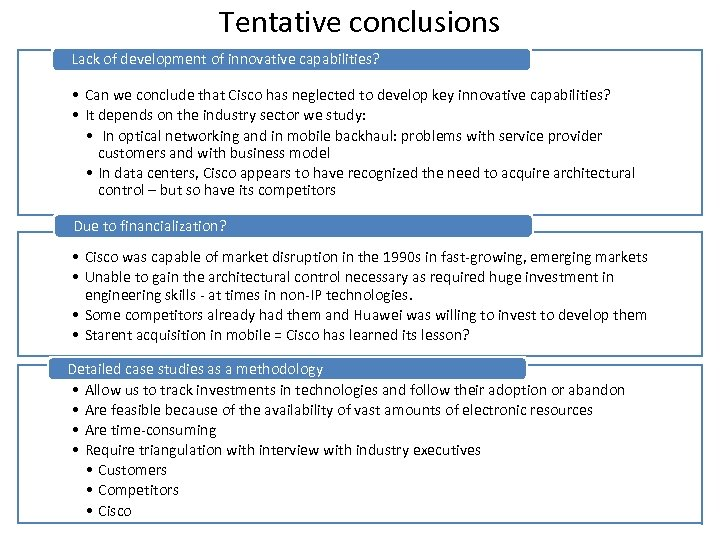 Tentative conclusions Lack of development of innovative capabilities? • Can we conclude that Cisco
