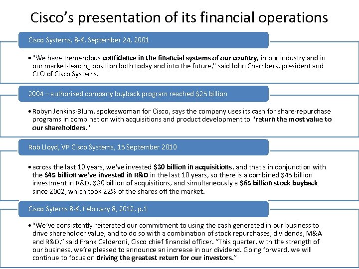 Cisco's presentation of its financial operations Cisco Systems, 8 -K, September 24, 2001 •