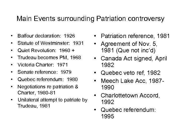 Main Events surrounding Patriation controversy • • Balfour declaration: 1926 Statute of Westminster: 1931