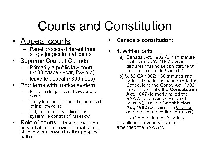 Courts and Constitution • Appeal courts: – Panel process different from single judges in
