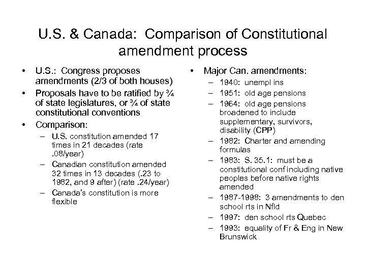 U. S. & Canada: Comparison of Constitutional amendment process • • • U. S.