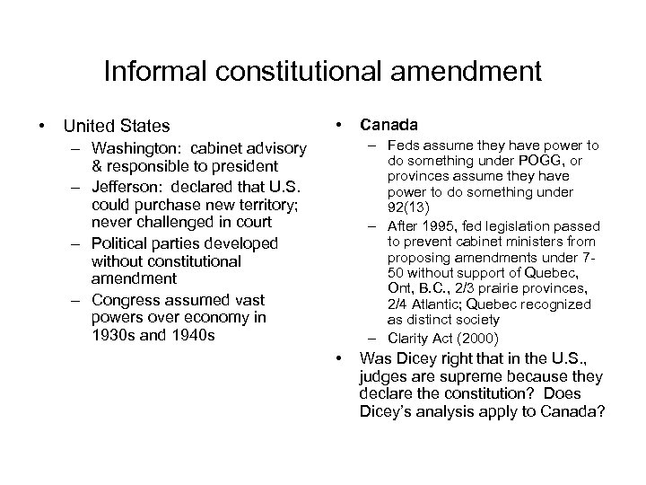 Informal constitutional amendment • United States • Canada – Feds assume they have power