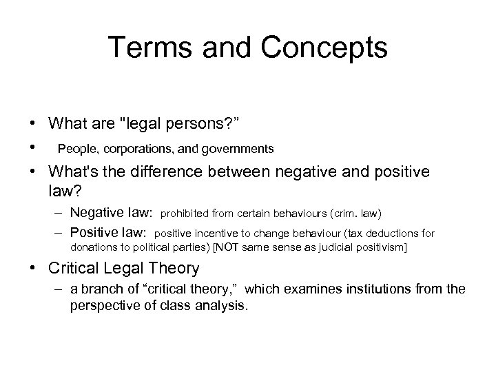 Terms and Concepts • What are