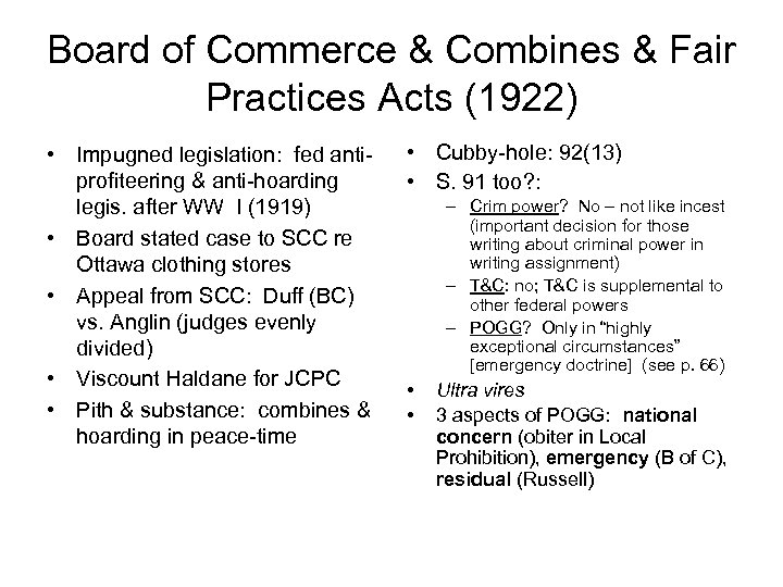 Board of Commerce & Combines & Fair Practices Acts (1922) • Impugned legislation: fed
