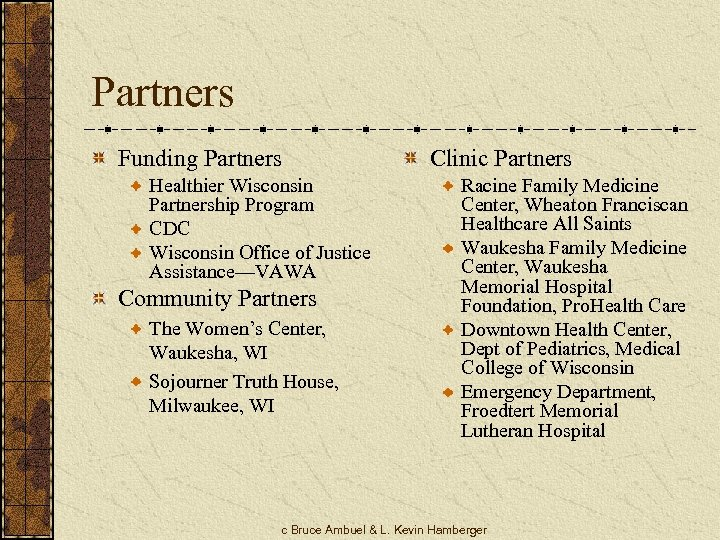 Partners Funding Partners Healthier Wisconsin Partnership Program CDC Wisconsin Office of Justice Assistance—VAWA Community