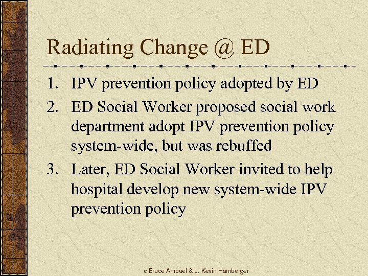 Radiating Change @ ED 1. IPV prevention policy adopted by ED 2. ED Social