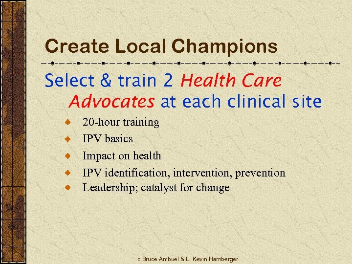 Create Local Champions Select & train 2 Health Care Advocates at each clinical site