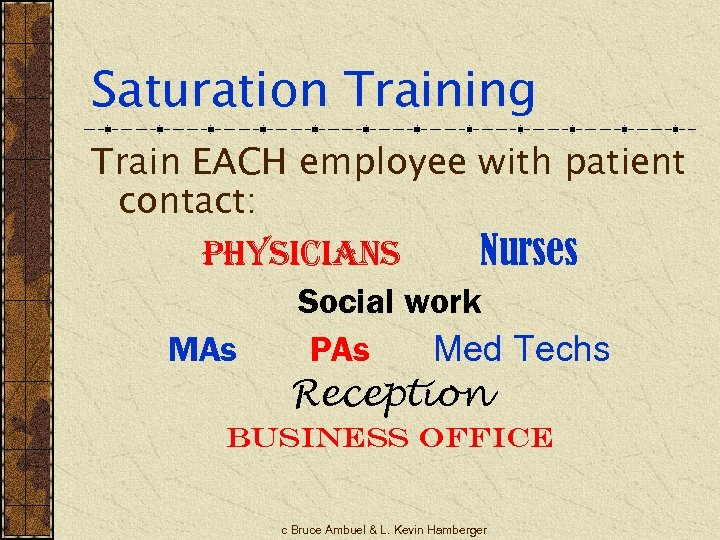 Saturation Training Train EACH employee with patient contact: physicians Nurses Social work MAs PAs