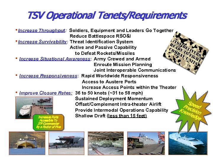 TSV Operational Tenets/Requirements • Increase Throughput: Soldiers, Equipment and Leaders Go Together Reduce Battlespace