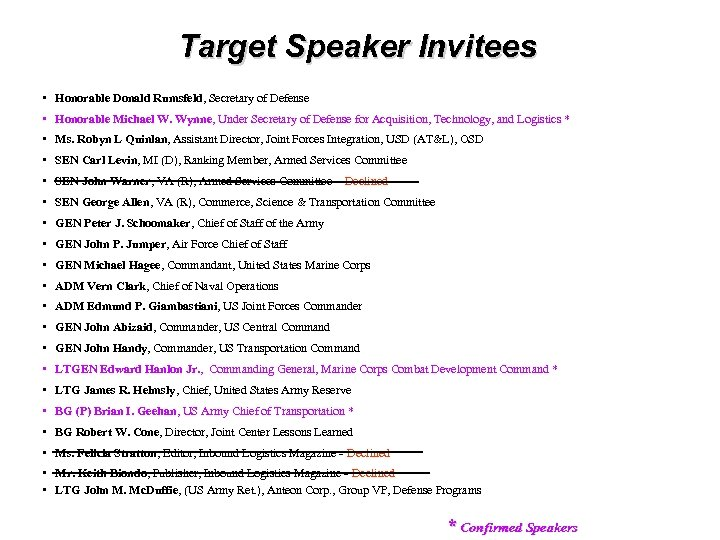 Target Speaker Invitees • Honorable Donald Rumsfeld, Secretary of Defense • Honorable Michael W.