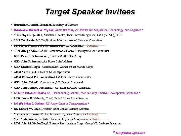 Target Speaker Invitees • Honorable Donald Rumsfeld, Secretary of Defense • Honorable Michael W.