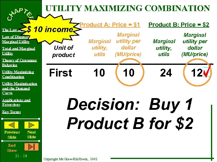 UTILITY MAXIMIZING COMBINATION $ 10 income The Law of Demand Law of Diminishing Marginal