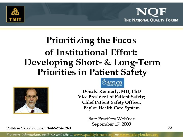 Prioritizing the Focus of Institutional Effort: Developing Short- & Long-Term Priorities in Patient Safety