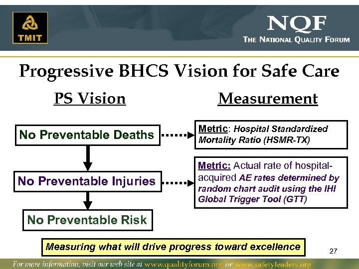 Progressive BHCS Vision for Safe Care PS Vision No Preventable Deaths No Preventable Injuries