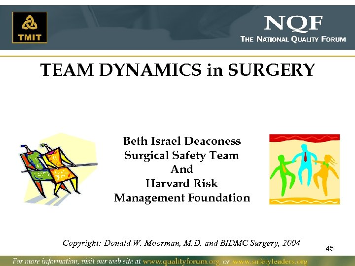 TEAM DYNAMICS in SURGERY Beth Israel Deaconess Surgical Safety Team And Harvard Risk Management