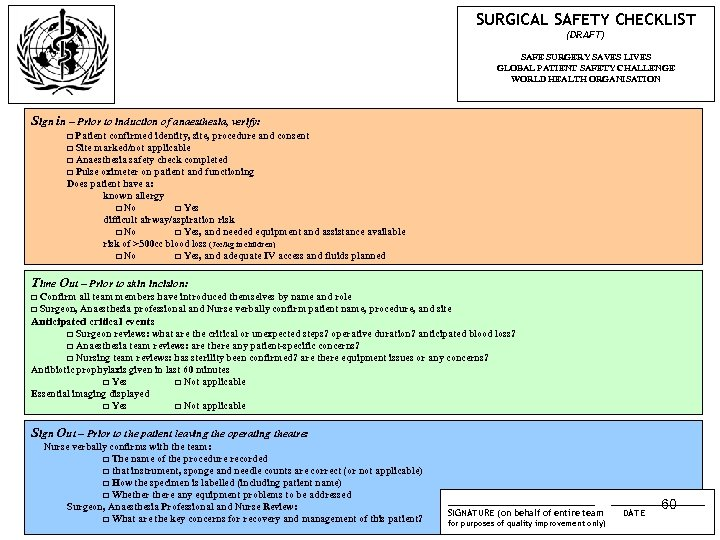 SURGICAL SAFETY CHECKLIST (DRAFT) SAFE SURGERY SAVES LIVES GLOBAL PATIENT SAFETY CHALLENGE WORLD HEALTH