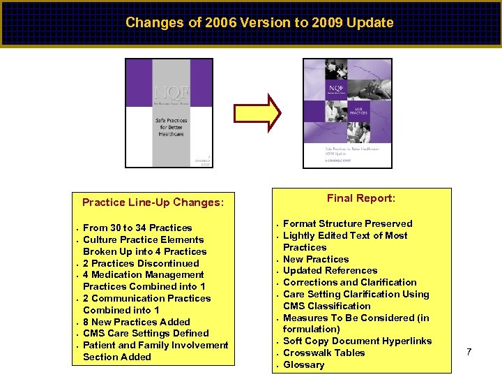 Changes of 2006 Version to 2009 Update Final Report: Practice Line-Up Changes: • •