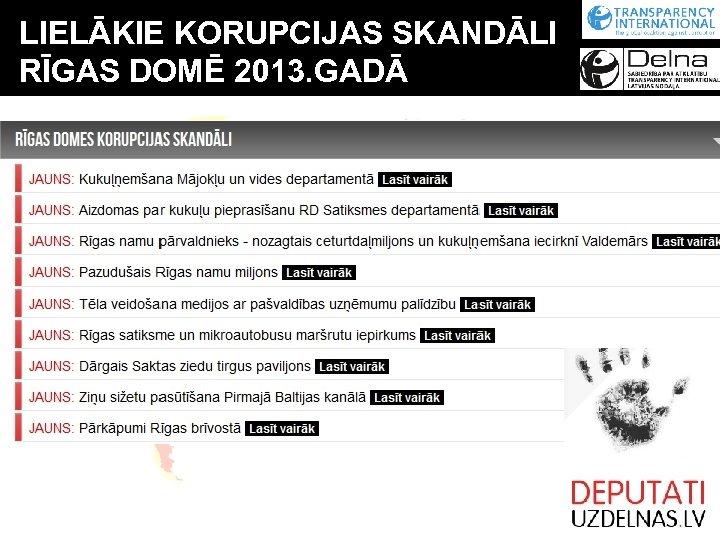 LIELĀKIE KORUPCIJAS SKANDĀLI RĪGAS DOMĒ 2013. GADĀ
