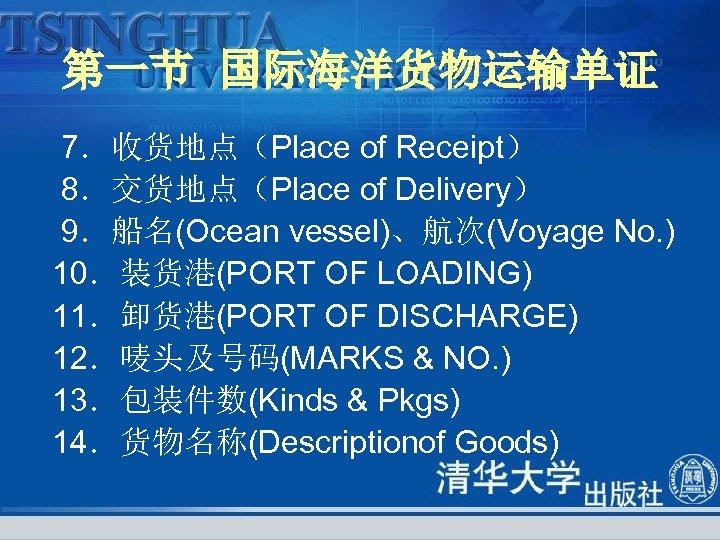 第一节 国际海洋货物运输单证 7.收货地点(Place of Receipt) 8.交货地点(Place of Delivery) 9.船名(Ocean vessel)、航次(Voyage No. ) 10.装货港(PORT OF