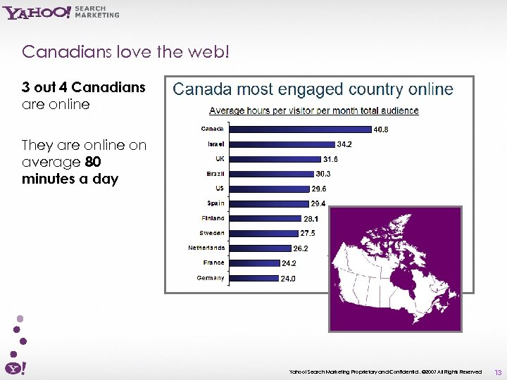 Canadians love the web! 3 out 4 Canadians are online They are online on