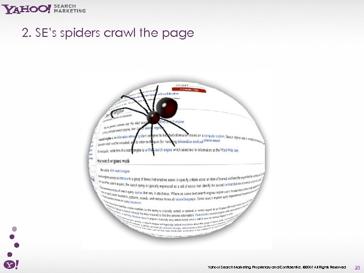 2. SE's spiders crawl the page Yahoo! Search Marketing Proprietary and Confidential. © 2007