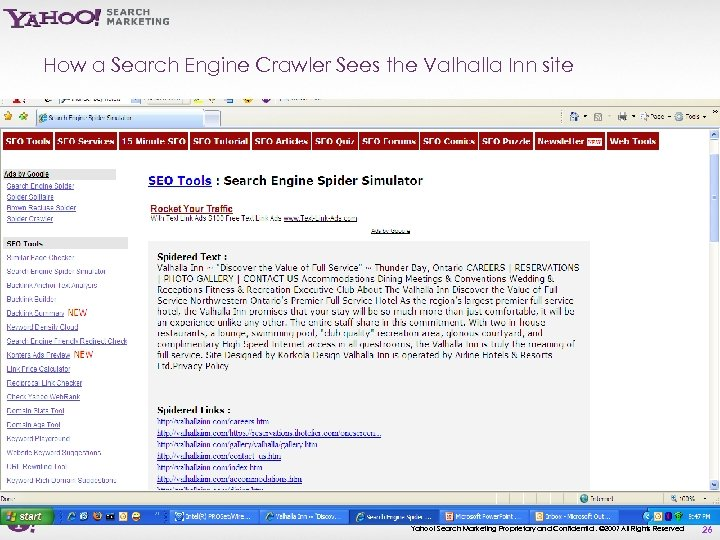 How a Search Engine Crawler Sees the Valhalla Inn site Yahoo! Search Marketing Proprietary