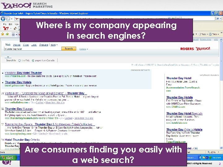 Where is my company appearing in search engines? Are consumers finding you easily with