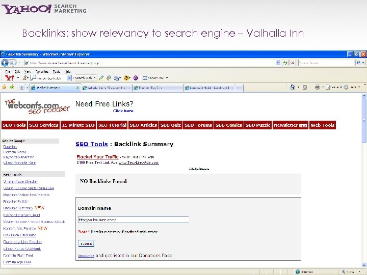 Backlinks: show relevancy to search engine – Valhalla Inn Yahoo! Search Marketing Proprietary and
