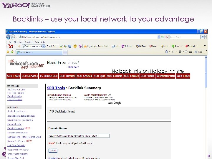 Backlinks – use your local network to your advantage No back links on Holiday