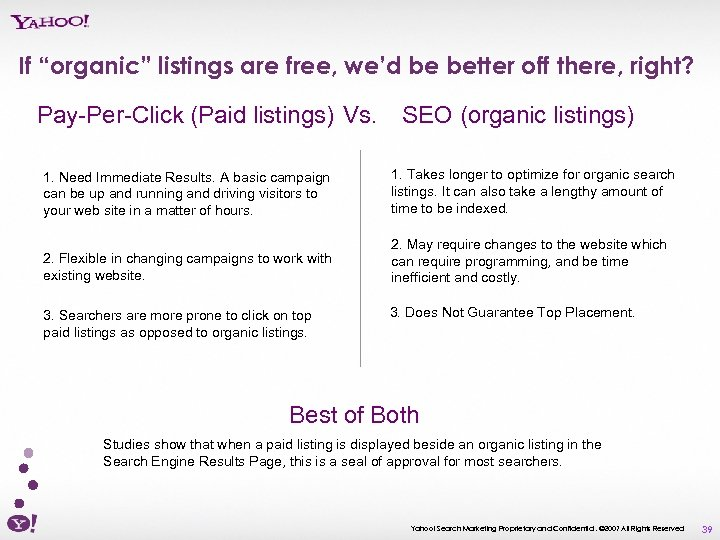 "If ""organic"" listings are free, we'd be better off there, right? Pay-Per-Click (Paid listings)"
