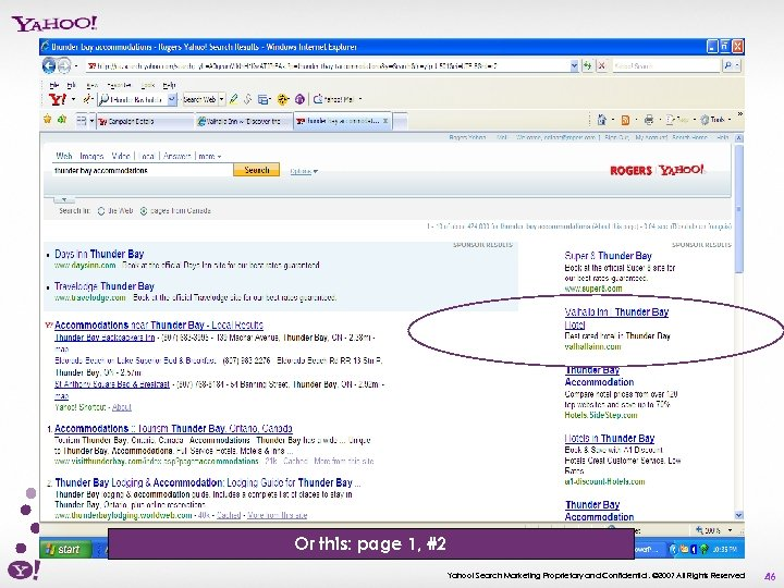 Or this: page 1, #2 Yahoo! Search Marketing Proprietary and Confidential. © 2007 All
