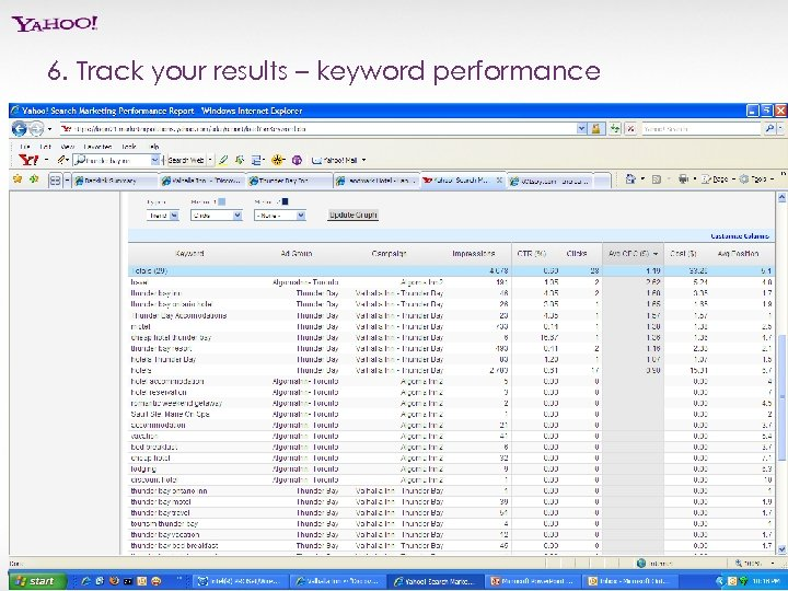6. Track your results – keyword performance Yahoo! Search Marketing Proprietary and Confidential. ©