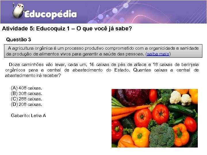 Atividade 5: Educoquiz 1 – O que você já sabe? Questão 3 A agricultura