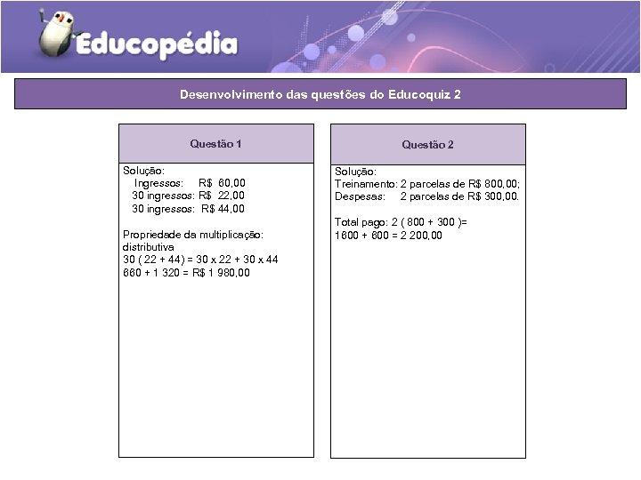 Desenvolvimento das questões do Educoquiz 2 Questão 1 Solução: Ingressos: R$ 60, 00 30