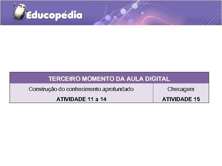 TERCEIRO MOMENTO DA AULA DIGITAL Construção do conhecimento aprofundado Checagem ATIVIDADE 11 a 14