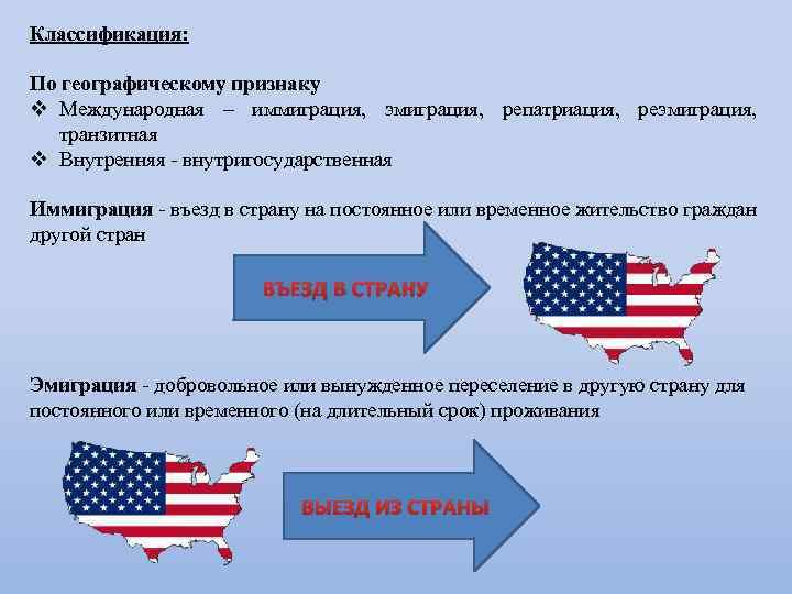 Классификация: По географическому признаку v Международная – иммиграция, эмиграция, репатриация, реэмиграция, транзитная v Внутренняя